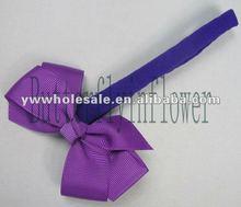 2014 NEW design kids nice grosgrain headbands preppy Hhir accessories solid grosgrain purple headbands with ribbon bow