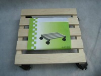 eco-friendly wooden flower stand with wheels