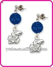 Logo Kansas Jayhawks Ovation Rhodium School Earrings jewelry (E102514)