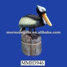Decorative exotic animated handmade resin pelican statue