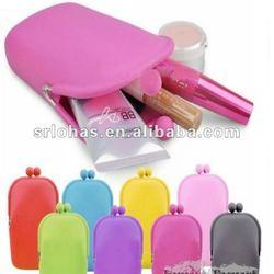 Silcione cosmetic mini purse mirror