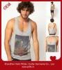Cotton fitness grey tank /vest tops print for men