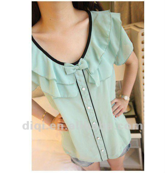 Modelos de tela blusas en la gasa de 2013 moda estilo-Mujeres Blusas y