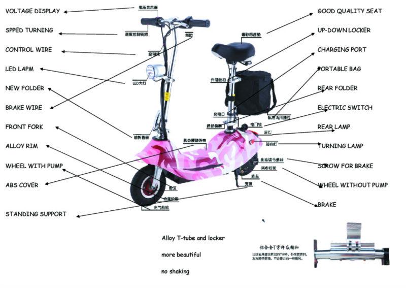 24V, 120W, 12km/h folding portable electric scooter/seated electric scooter/ electrick surfing scooter