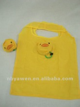 foldable polyester Cute Shop totes bags in yellow
