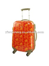 hot selling ABS/PC printed luggage, with zipper,Full print luggage