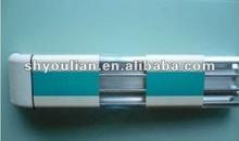 hospital corridor handrail with aluminum retainer