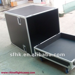 Black Speaker Rack Case, with casters and foam