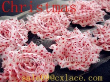Christmas white red dots shabby chiffon flowers retail and wholesale
