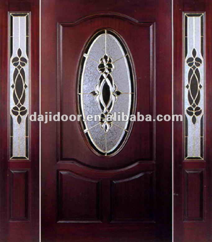 De lujo 3 lite de madera las puertas exteriores de vidrio for Puertas de madera con vidrio para exterior