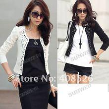 2012 New Lady's Long Sleeve Shrug Suits Jacket Fashion Cool Rivet Design 7164