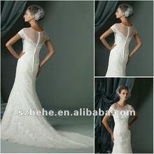 Fabulous 2012 high quality lace short sleeve slim skirt import wedding dress