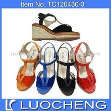 hot selling pu woman sandal shoe with hemp rope wedge sole