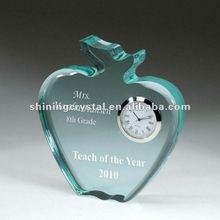 New Design Apple Shape Crystal Jade Glass Desk Clock