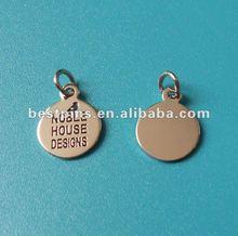 engraved round pendants, custom metal charms