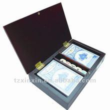 Poker set in wooden box