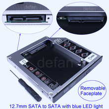 12.7mm SATA to SATA 2nd Space Aluminum HDD Hard Driver With LED Light Caddy for HP Compaq Acer Sony Dell Asus laptop