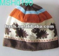 polar fleece beanie hat with animal pattern (MSH0190)
