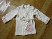 100% terry do algodão veste quimono com emboridery para crianças
