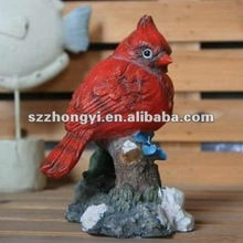 red resin bird figurine christmas gifts/artificial birds garden decoration