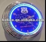 Neon wall clock for bar
