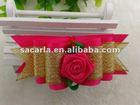 hot pink and gold ribbon dog bows wholesale