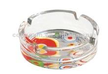 Decorative round glass ashtray decal printing (glass factory had passed FDA/EU/SGS )
