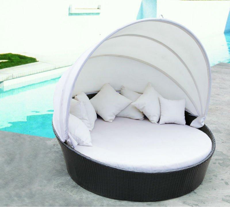 esterno di vimini rattan divano letto rotondo con tenda ...