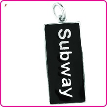 black enamel charm hottest subway charms custom tag charm