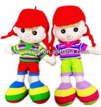 cara blanca de algodón muñeca de trapo de juguete chico con sombrero