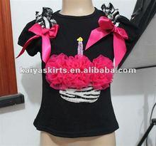 Children Birthday Cupcake Top,Baby Short Sleeve Cotton Top