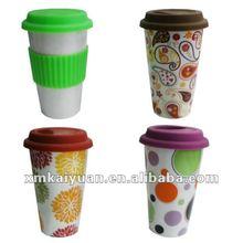 Popular double wall ceramic travel mug