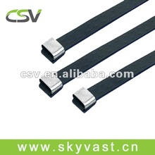 7*490mm Plastic coated stainless steel zip tie cable organizer