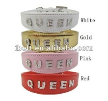 queen letter with rhinestone dog necklace