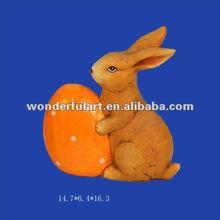 handmade carved rabbit easter decoration