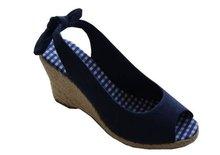 2012 new fashion canvas causal girls high heel sandals