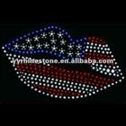America lips hotfix rhinestone/strass transfer iron on