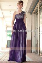 DORISQUEEN drop shipping elegant floor length one shoulder purple puffy prom dresses
