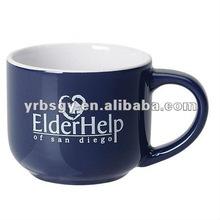 14oz Two Tone White/Blue Ceramic Mini Latte Mug with Custom Logo