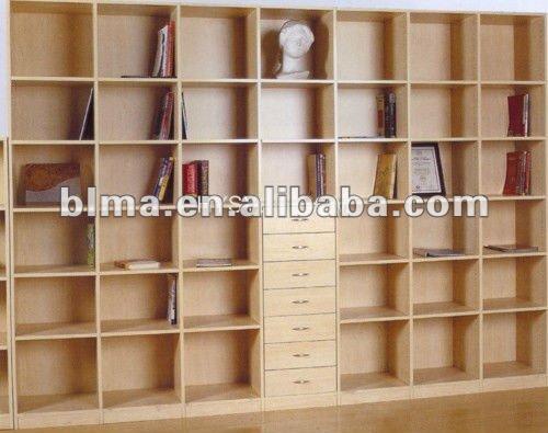 Unidad de pared librer a grano de madera de color n cleo for Libros de muebles de madera