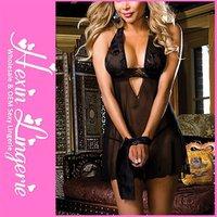 Wholesale Erotic Sexy Women Black Lace Dress Evening