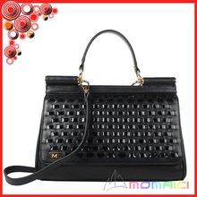 authentic top patent leather black color knit lady handbag shoulder bag