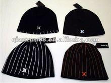 2012 Black stripe 100% cotton sports beanie caps & hats