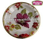 Round Shape Flower Plastic PP Serving Tray with Gilt Edge