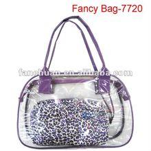 fashion pvc and satin travel cosmetic bag