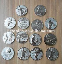 metal custom sports collectable challenge coin, silver souvenir metla coin