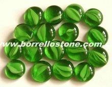 Green Flat Glass Beads For Garden Decoration
