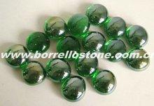 Tumbled Green Flat Glass Beads