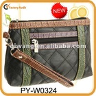 high quality leather quilted cosmetic bag wristlet with crocodile leather trim