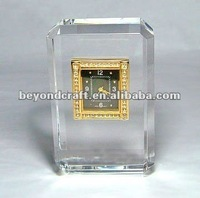 Crystal clock block,cut crystal clock for desktop decoration